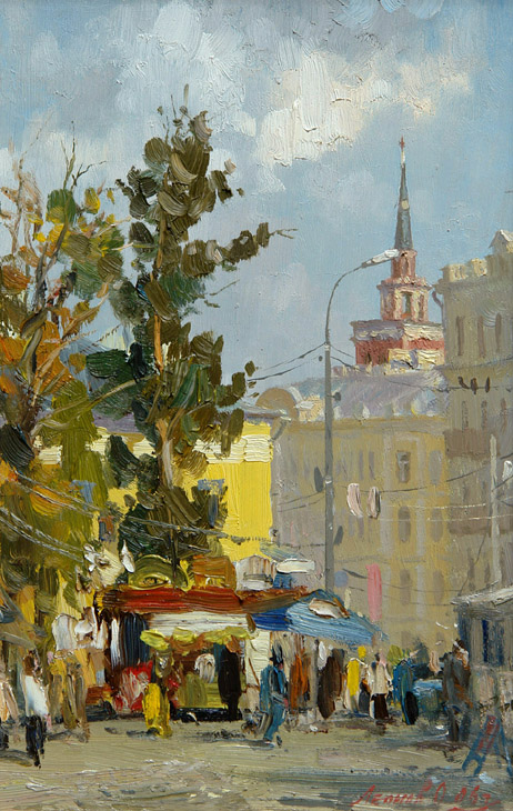 Moscow. Kalanchevka square, Oleg Leonov- painting, cityscape, the streets of Moscow, skyscraper