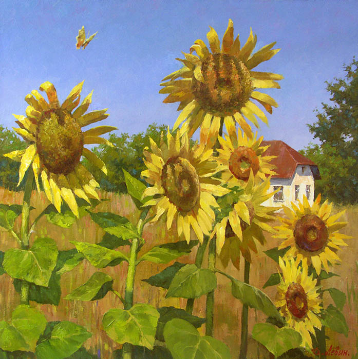 Cloudless summer, Dmitry Levin- Russian landscape with sunflowers, painting with house