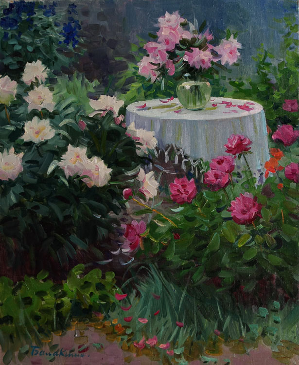 In the garden. Pink and red peonies, Evgeny Balakshin- painting, spring garden, bushes of flowers, landscape