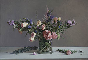 Still life with pion-shaped roses
