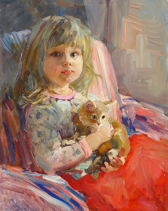 Evening, Elena Salnikova- portrait of little girl,red kitten, chair, impressionism