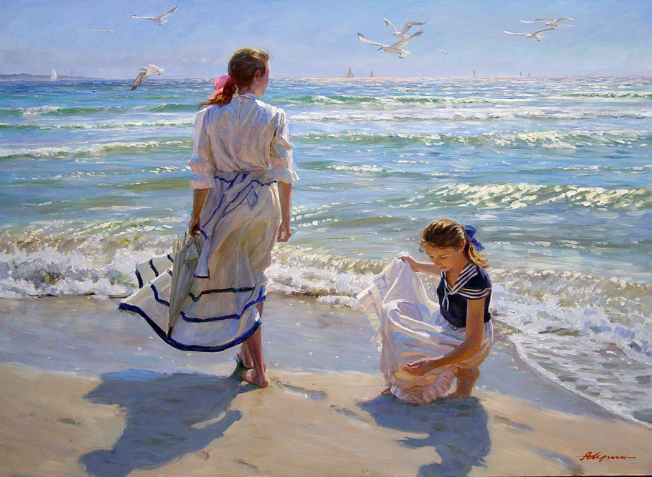 Girls on the beach (for order), Alexandr Averin- painting, Baltic Sea, Russian beauty, impressionism