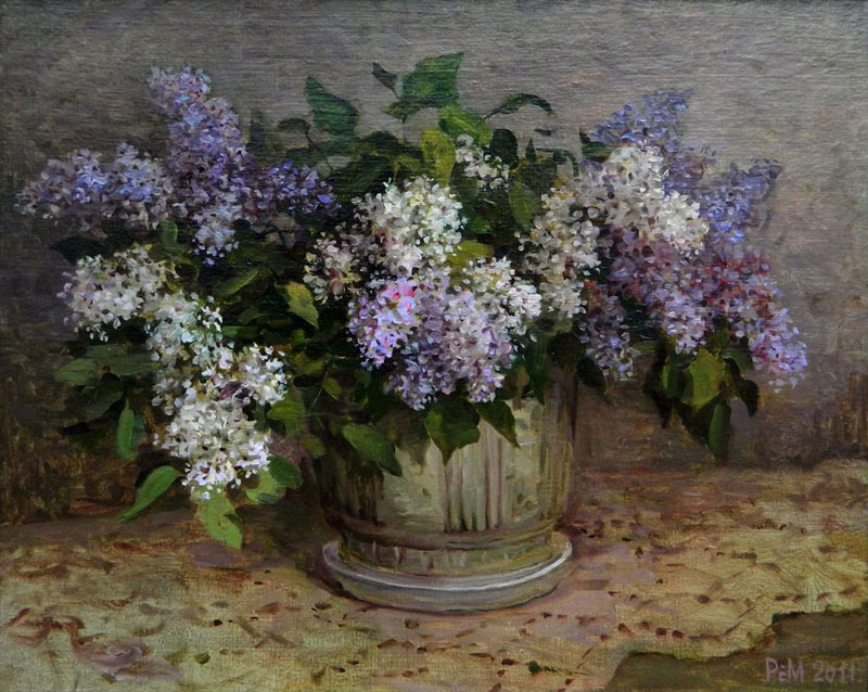 Lilac, Rem Saifulmulukov- painting, spring bouquet of a lilac, table, still life