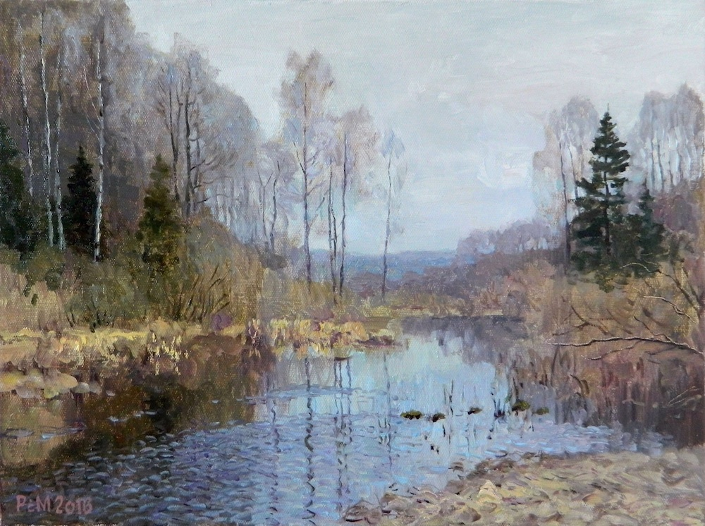 Landscape near Vashutino, Rem Saifulmulukov- painting, spring day, a river in the forest, birch, landscap