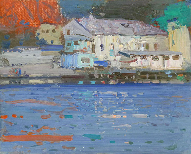 Balaklava bay, Bato Dugarzhapov- paintings of modern impressionists, the Crimean landscape