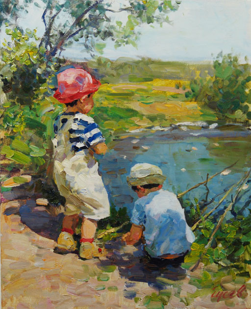 Little fishermen, Vladimir Gusev- painting, sunny summer day, the river, the young fishermen