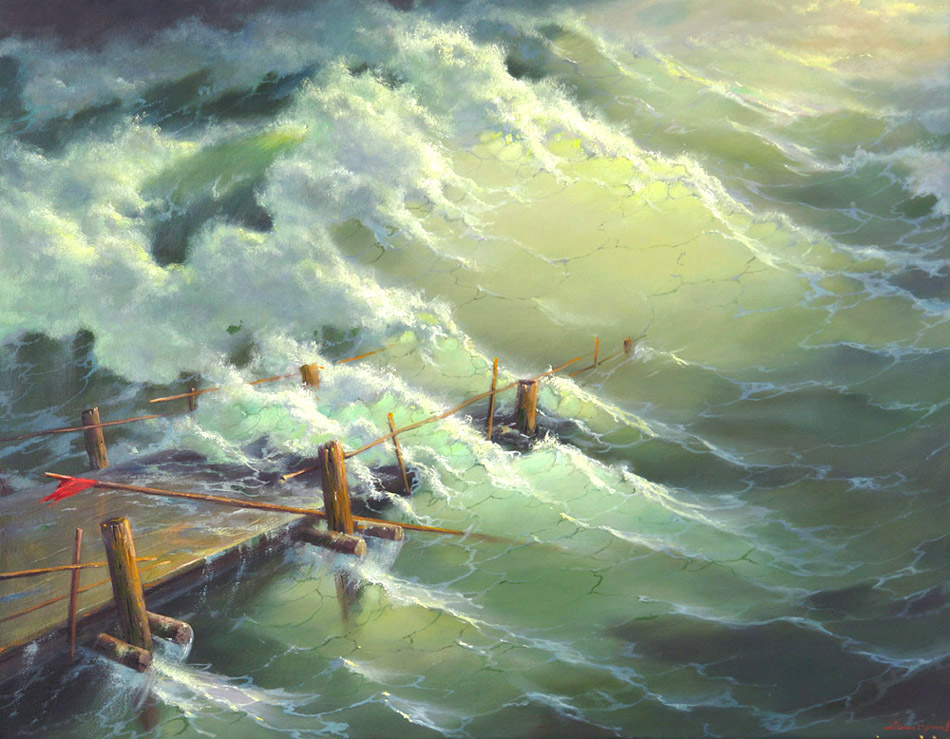 To storm, George Dmitriev- painting, sea, big waves, storm, realism, seascape