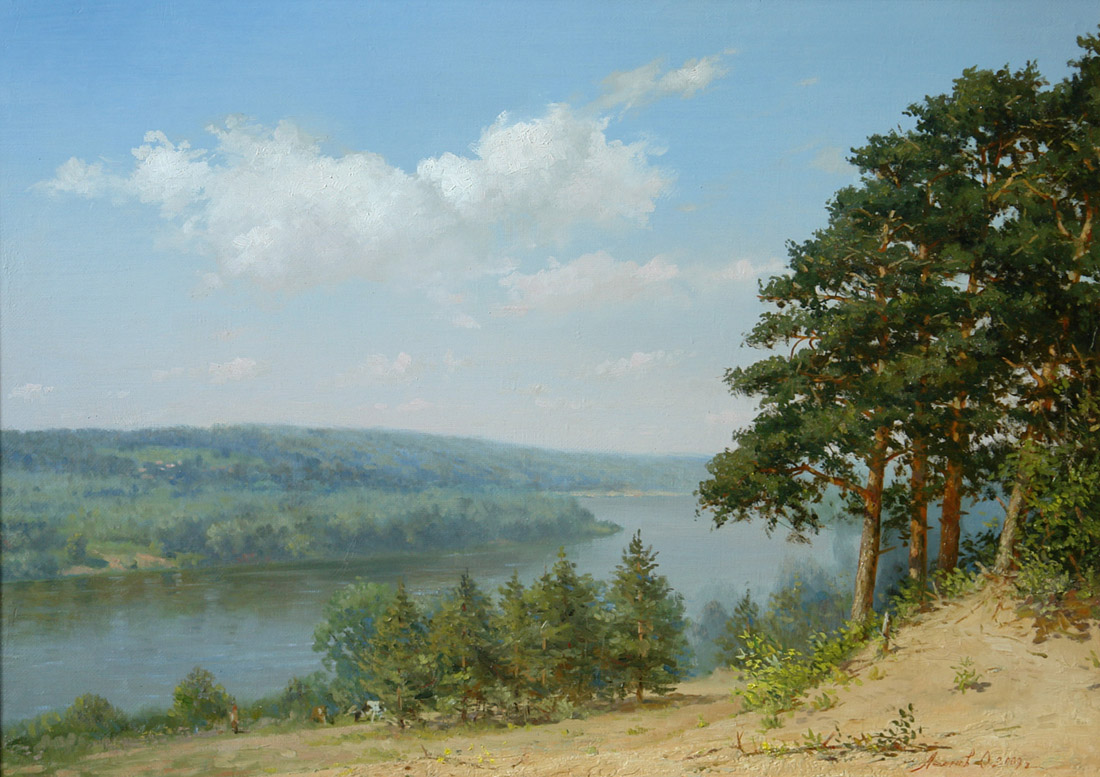 "View to Oka from ""The Drunk hillock"", Oleg Leonov- painting, Oka river, forest, pine, morning mist, blue sky"