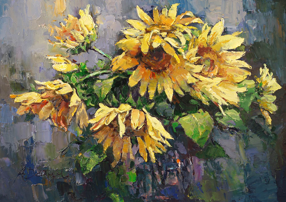 Sunflowers, Alexi Zaitsev- still life with sunflowers, painting in style impressionism