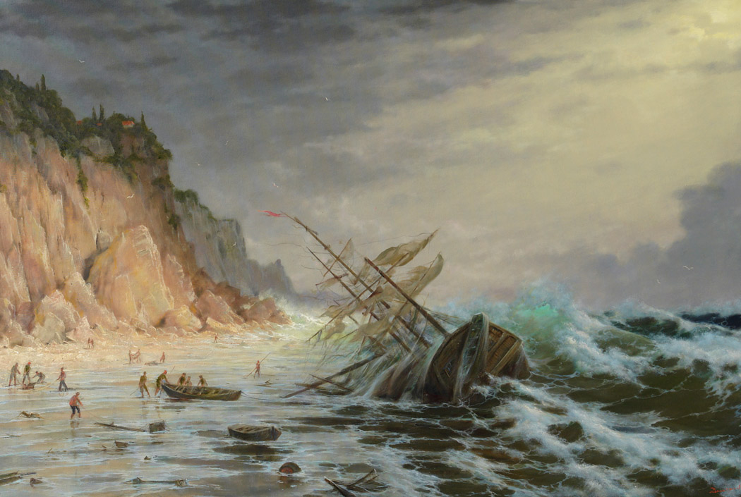 Storm off the coast of Corfu, George Dmitriev- painting, seascape, shipwreck, Italy, storm, waves