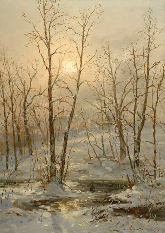 Small river Kireevka, Oleg Leonov- painting winter forest, river, snow, sun, landscape, realism