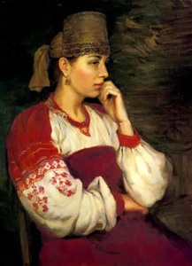 Portrait of a young girl in a Russian Costume