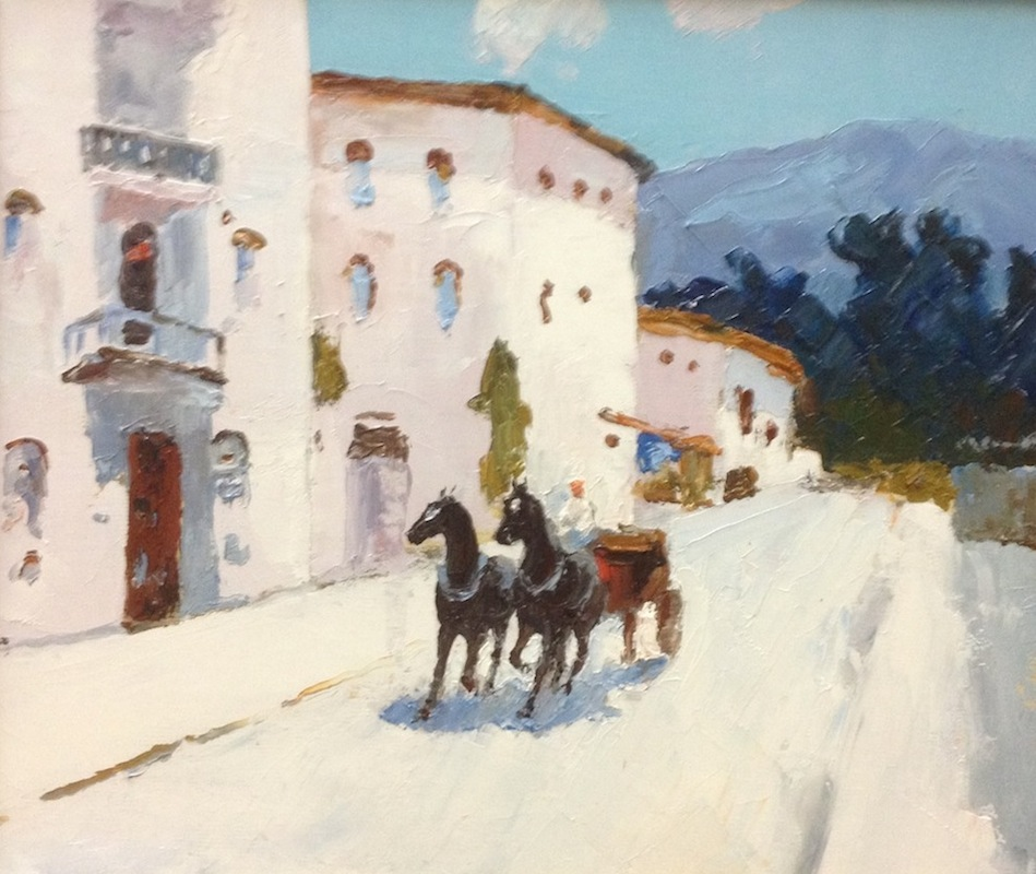 Sunny day, Sergey Postnikov- painting, carriage horses, southern landscape, horse ride