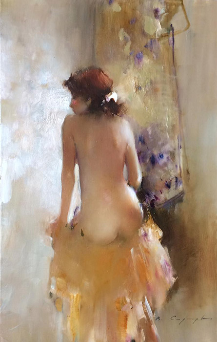 Nude model #1, Vitold Smukrovich- painting, beautiful female body, naked girl