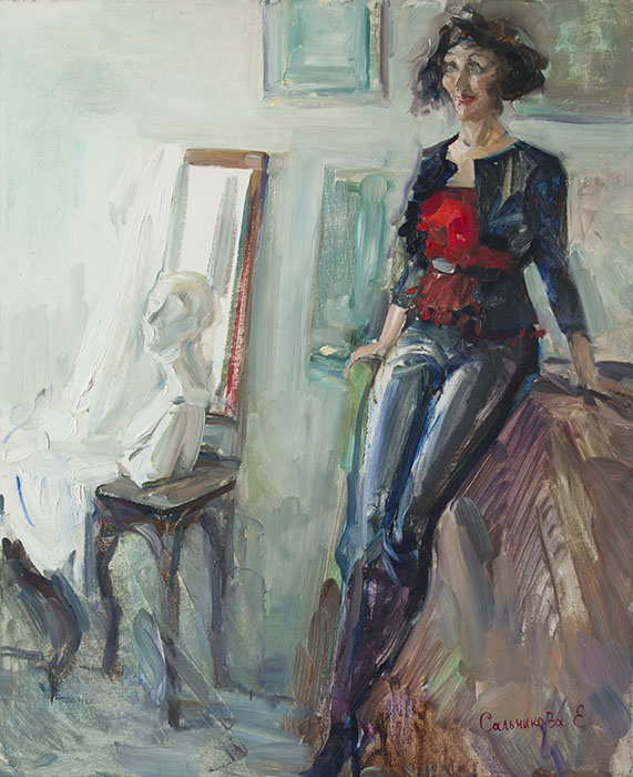 In the artist's studio, Elena Salnikova