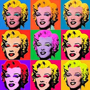 An exhibition of works by Andy Warhol and Roy Lichtenstein