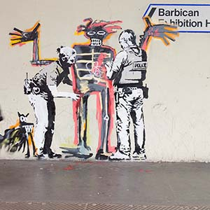 Two new Banksy artworks appear on wall of Barbican centre