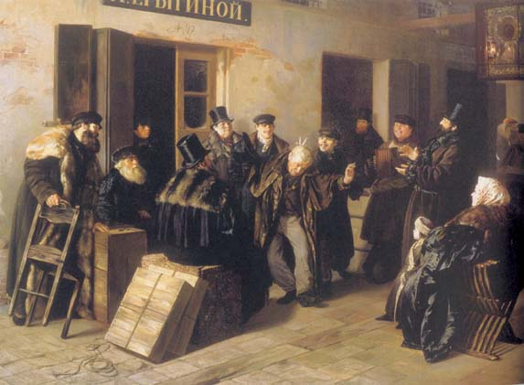 Jokers. Courtyard in Moscow, 1865, Prianishnikov Illarion, The Tretyakov Gallery, Moscow paintings to artist of ArtRussia