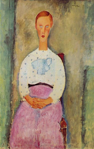 Girl in a blouse in a pea, 1919, Modigliani Amedeo, Barnes Foundation, Merion paintings to artist of ArtRussia