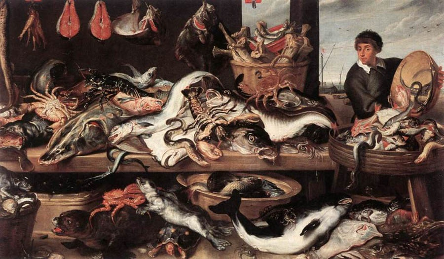 Fish shop, 1621, Snyders Frans, Hermitage, St. Petersburg paintings to artist of ArtRussia