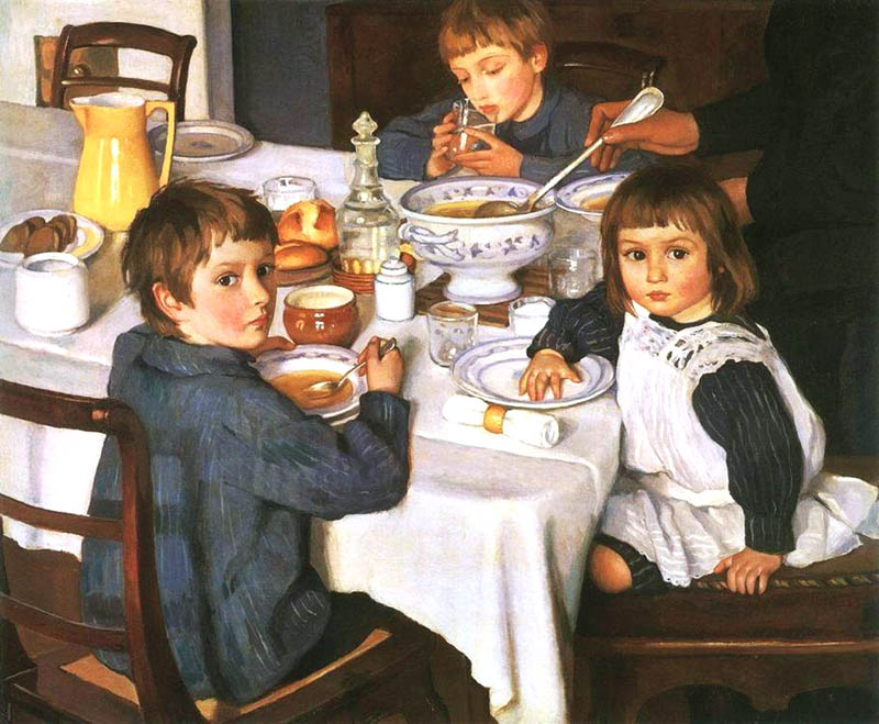 At Breakfast, 1914, Serebryakova Zinaida, The Tretyakov Gallery, Moscow paintings to artist of ArtRussia
