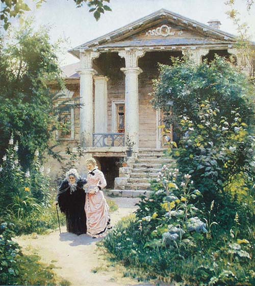 Grandmother's Garden, 1878, Polenov Vasily, The Tretyakov Gallery, Moscow paintings to artist of ArtRussia
