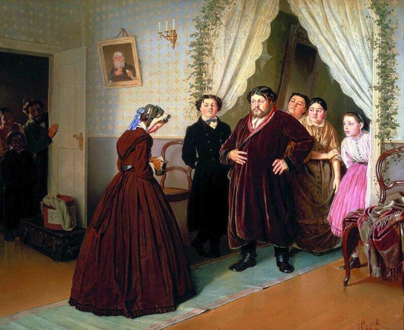 Arrival of the governess to merchant house, 1866, Perov Vasily, The Tretyakov Gallery, Moscow paintings to artist of ArtRussia