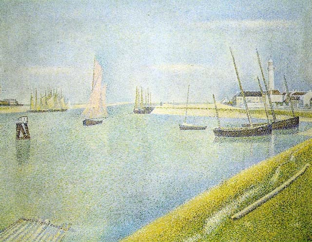 Canal in Gravelines in the direction of the sea, 1890, Seurat Georges, Kroller Muller Museum, Otterlo paintings to artist of ArtRussia