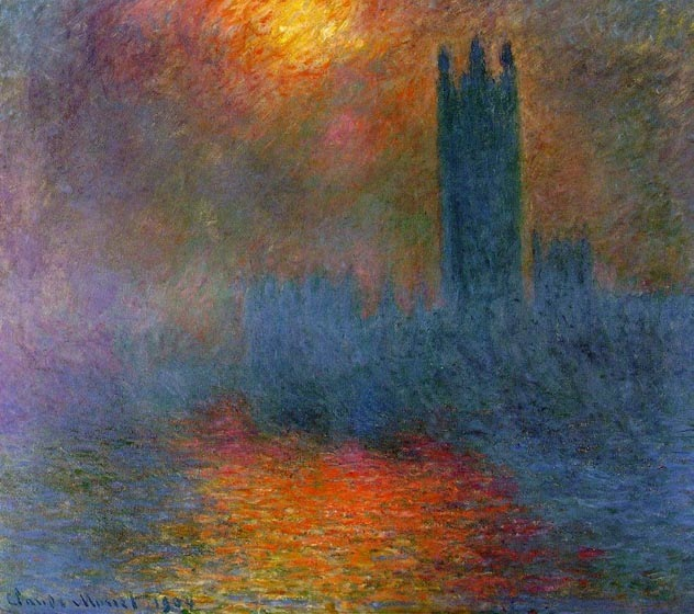 Parliament, London, Sun streaming through fog, 1904, Monet Claude, Museum d'Orsay, Paris paintings to artist of ArtRussia