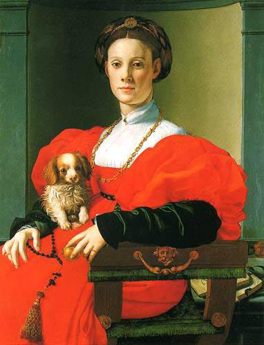 Lady with small dog, 1530, Bronzino Agnolo, Stedelev art institute, Frankfurt paintings to artist of ArtRussia