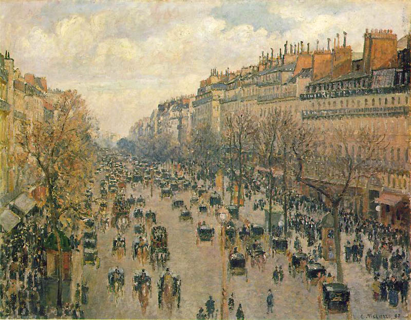 Boulevard Montmartre. In the afternoon, sunny, 1897, Pissarro Camille, Hermitage, St. Petersburg paintings to artist of ArtRussia