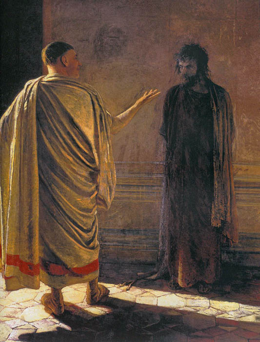 """What is true?"". Christ and Pilat, 1890, Ge Nikolai, The Tretyakov Gallery, Moscow paintings to artist of ArtRussia"