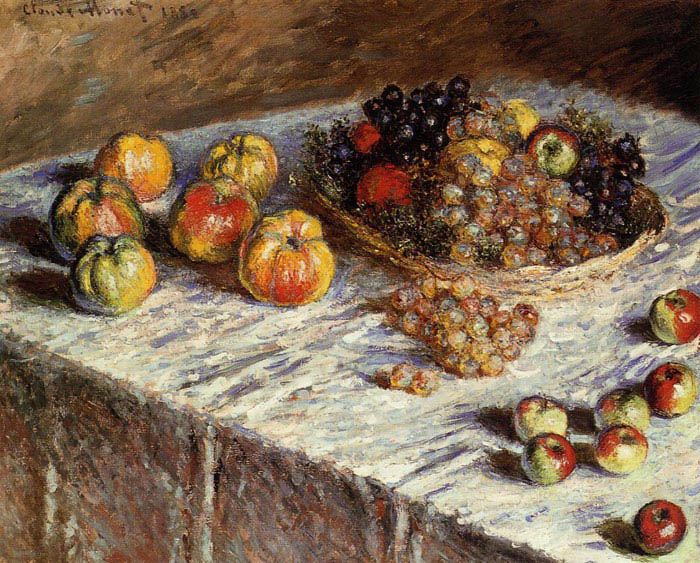 Still life: apples and grapes, 1879, Monet Claude, Art Institute of Chicago paintings to artist of ArtRussia