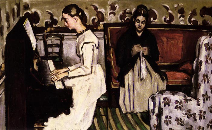 The girl at the piano - Overture to Tannhäuser, 1870, Cezanne Paul, Hermitage, St. Petersburg paintings to artist of ArtRussia