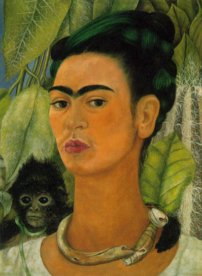 Self-Portrait with Monkey, 1938, Kahlo Frida, Albright-Knox Art Gallery, Buffalo paintings to artist of ArtRussia
