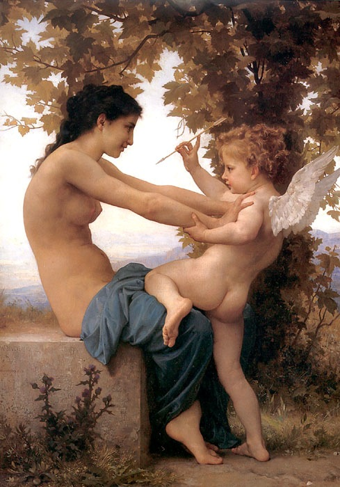 Young Girl Defending Herself Against Eros, 1880, Bouguereau Adolphe-William, Museum Jean-P.Getti, Los Angeles paintings to artist of ArtRussia