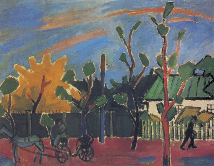 Decline after rain, 1908, Larionov Mikhail, The Tretyakov Gallery, Moscow paintings to artist of ArtRussia