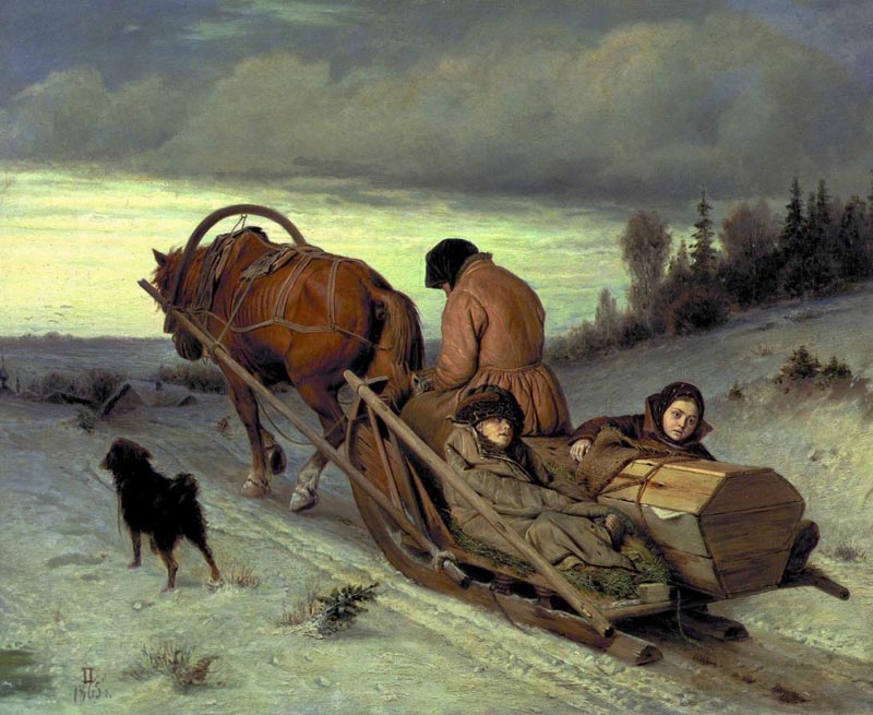 Seeing-off of the dead man, 1865, Perov Vasily, The Tretyakov Gallery, Moscow paintings to artist of ArtRussia