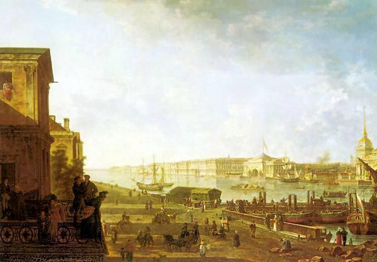 View of the Admiralty and Palace Embankment from the First Cadet Corps, 1810, Alekseev Fedor, The Russian Museum, St.Petersburg paintings to artist of ArtRussia
