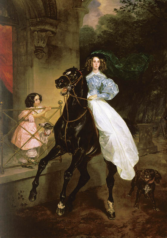 Lady on Horseback, 1832, Bryullov Karl, The Tretyakov Gallery, Moscow paintings to artist of ArtRussia