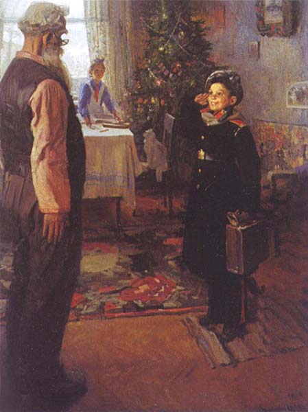 I arrived on vacation, 1948, Reshetnikov Fyodor, The Tretyakov Gallery, Moscow paintings to artist of ArtRussia