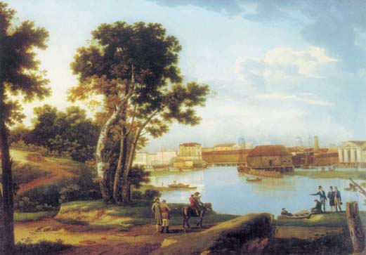 View from Petrovskie island on Tuchkov bridge and on Vasilievskiy island in St. Petersburg, 1815, Shchedrin Sylvester, The Tretyakov Gallery paintings to artist of ArtRussia