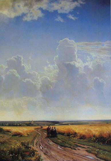 Midday in the Vicinity of Moscow, 1869, Shishkin Ivan, The Tretyakov Gallery paintings to artist of ArtRussia