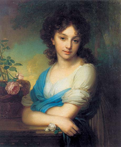 Portrait of E.A.Naryshkina, 1799, Borovikovsky Vladimir, The Tretyakov Gallery, Moscow paintings to artist of ArtRussia