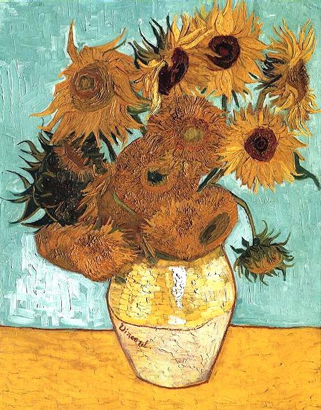 Vase with Twelve Sunflowers, 1888, Van Gogh Vincent, Neue Pinakothek, Munich paintings to artist of ArtRussia