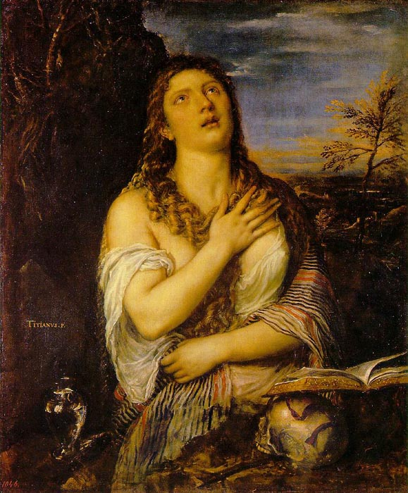 Penitent Mary Magdalene, 1560, Tiziano Vecellio, Hermitage, St. Petersburg paintings to artist of ArtRussia