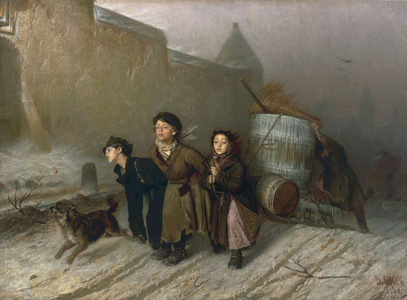 Troika. Apprentices Fetching Water, 1866, Perov Vasily, The Tretyakov Gallery, Moscow paintings to artist of ArtRussia