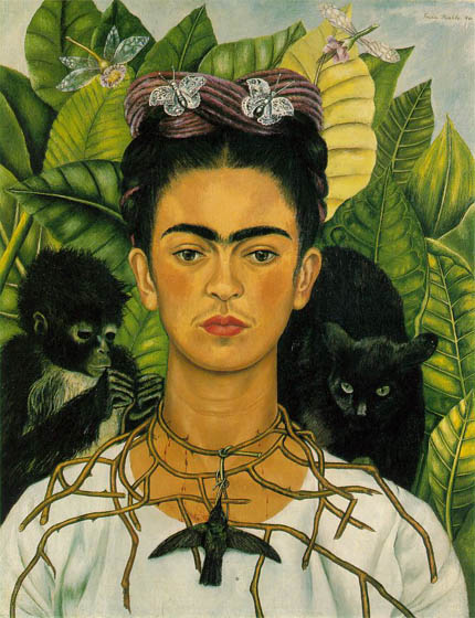 Self-portrait in a thorny necklace with hummingbird, 1940, Kahlo Frida, University of Texas, Austin paintings to artist of ArtRussia