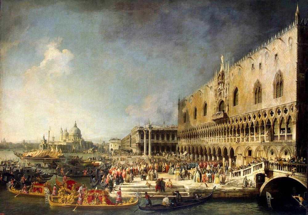 Reception of the French Ambassador in Venice, 1740, Canaletto (Canal) Giovanni Antonio, Hermitage, St. Petersburg paintings to artist of ArtRussia