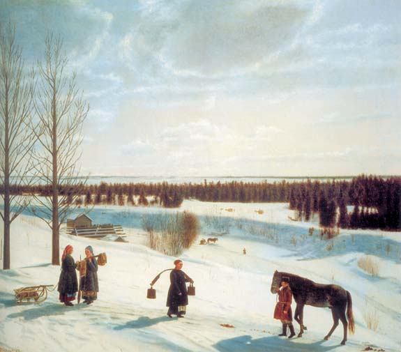 Russian Winter, 1827, Krylov Nikifor, The Russian Museum, St.Petersburg paintings to artist of ArtRussia